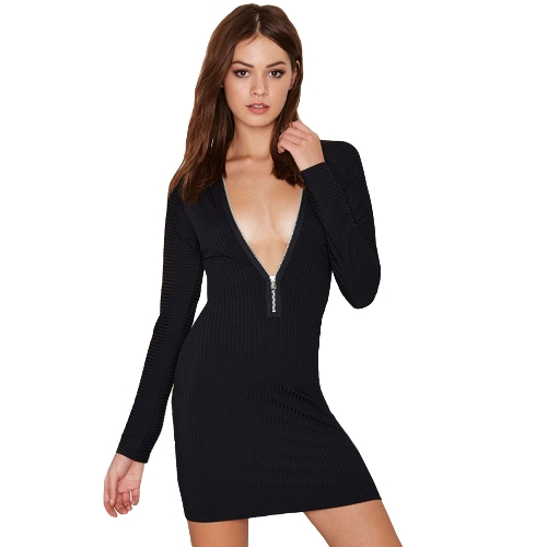Sexy Deep V Neck Zipper Front Long Sleeve Ribbed Bodycon Sweater Dress