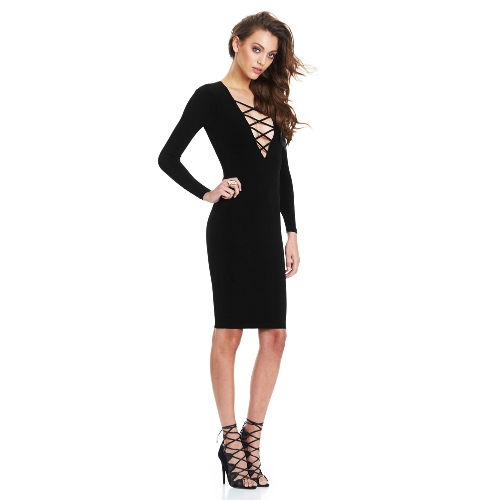 New Fashion Women Dress Plunge V Neckline Criss Cross Straps Front Long Sleeve Bodycon Fit Sexy Midi One-Piece G1596B-S