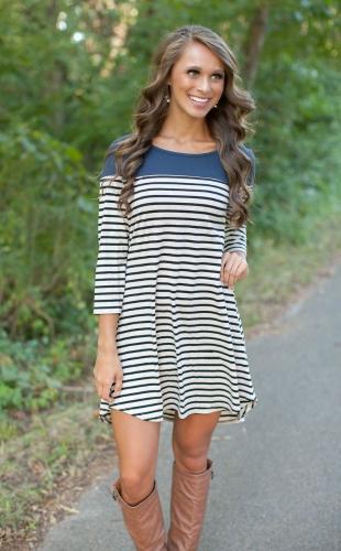 Casual Urban Women Round Neck Asymmetric Hem 3/4 Sleeve Stripe DressDresses<br>Casual Urban Women Round Neck Asymmetric Hem 3/4 Sleeve Stripe Dress<br><br>Blade Length: 34.0cm