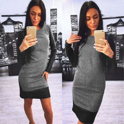 Fashion Women Sweater Dress Contrast Splicing Round Neck Long Sleeve Cocktail Party Dress Grey/Light GreyDresses<br>Fashion Women Sweater Dress Contrast Splicing Round Neck Long Sleeve Cocktail Party Dress Grey/Light Grey<br><br>Blade Length: 22.0cm