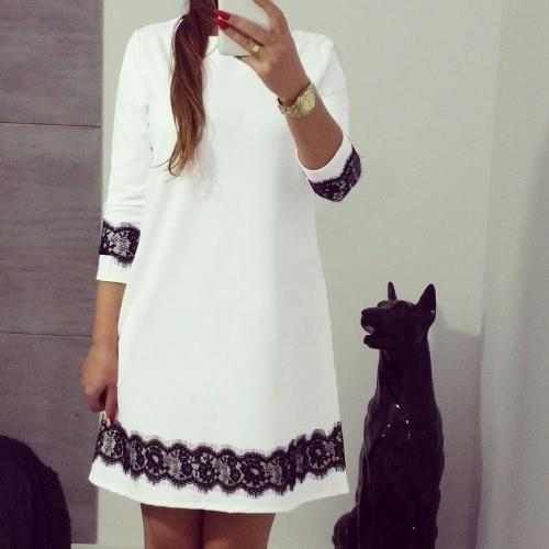 New Fashion Women Mini Dress Lace Splice 3/4 Sleeve O Neck Loose Casual Dress White