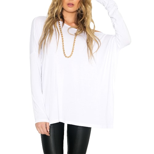 New Europe Women Loose T-Shirt O Neck Off Shoulder Long Sleeve Casual Solid Fashion Tee Top Pullover Black/WhiteTops &amp; Vests<br>New Europe Women Loose T-Shirt O Neck Off Shoulder Long Sleeve Casual Solid Fashion Tee Top Pullover Black/White<br><br>Blade Length: 20.0cm