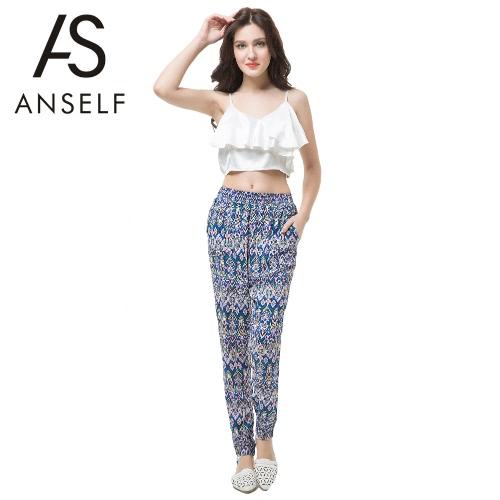 New Europe Women Harem Pants Geometric Print Elastic Waist Pockets Bohemian Causal Loose Trousers Blue G2045BL-S