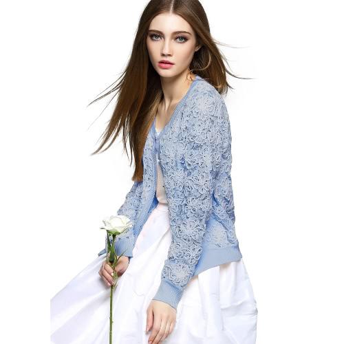 New Fashion Women Knit Coat Crochet Lace Hollow Button Front O Neck Long Sleeve Slim Open Knitwear Outerwear G2046BL-S
