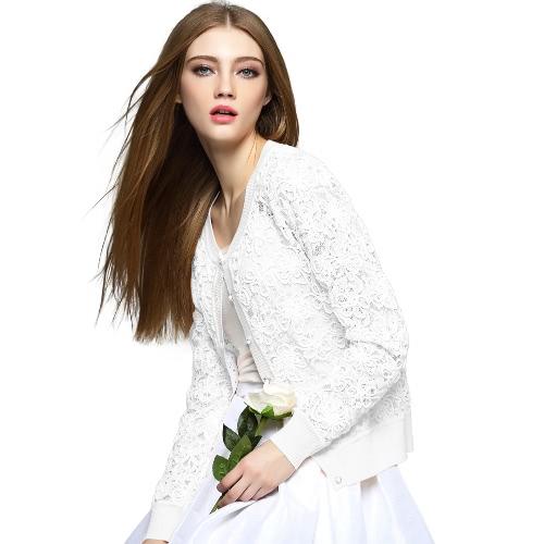 New Fashion Women Knit Coat Crochet Lace Hollow Button Front O Neck Long Sleeve Slim Open Knitwear Outerwear G2046W-S