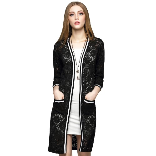 New Elegant Women Long Cardigan Lace Hollow Out Strip Splice 3/4 Sleeve Slim Outerwear Coat Knitwear Black/White G2083B-S