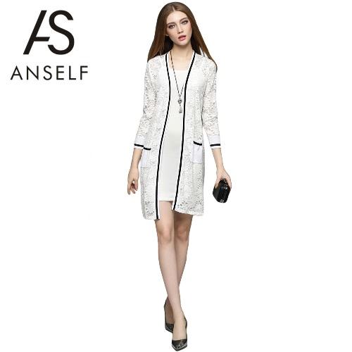 New Elegant Women Long Cardigan Lace Hollow Out Strip Splice 3/4 Sleeve Slim Outerwear Coat Knitwear Black/White G2083W-S