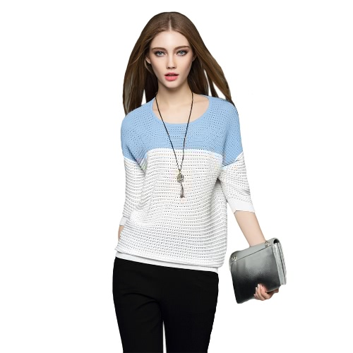 New Fashion Women Knitwear Contrast Splice Hollow Out Batwing Sleeve Casual Blouse Pullover Sweater Tops Black/Blue G2100BL-S