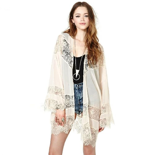 New Fashion Women Long Cardigan Crochet Lace Hollow Out Flare Sleeve Slim Elegant Outwear Beige