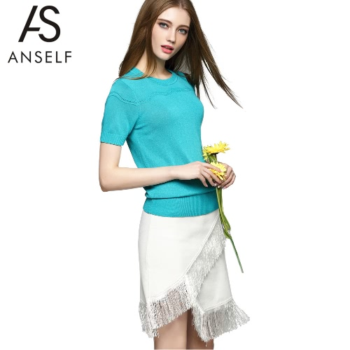 New Fashion Women Knitwear Solid Hollow Out Round Neck Short Sleeve Simple Pullover Blue/White/Purple G2130BL-S