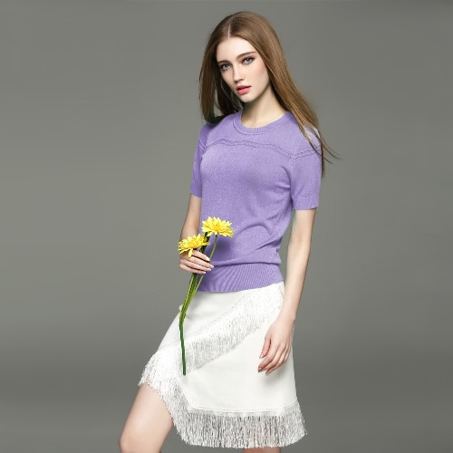 New Fashion Women Knitwear Solid Hollow Out Round Neck Short Sleeve Simple Pullover Blue/White/Purple