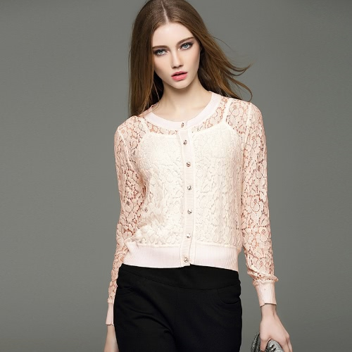 New Fashion Women Cardigan Floral Lace Buttons Fastening Round Neck Long Sleeve Casual Tops White/Pink/Apricot
