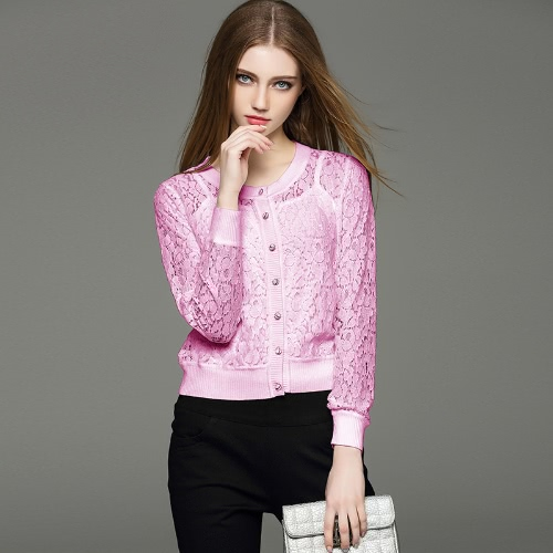New Fashion Women Cardigan Floral Lace Buttons Fastening Round Neck Long Sleeve Casual Tops White/Pink/Apricot G2138P-S