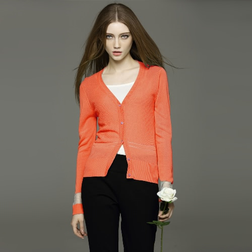 New Fashion Women Cardigan Solid Mesh Insert Buttons V Neck Long Sleeve Slim Fit Casual Knitwear Green/White/Orange
