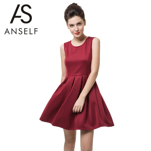 Chic Anself Sleeveless Hollow Out A-line Pleated Summer Red Dress for Women G2217R-S