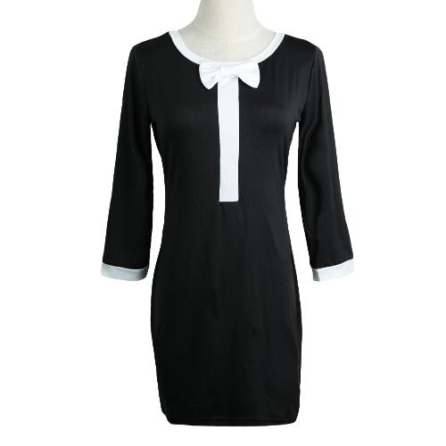 Fashion Women Dress Round Neck 3/4 Sleeve Butterfly Splice Casual Mini Dress Black