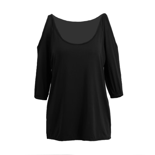 New Fashion Women Cold Shoulder Blouse Sexy Scoop Neck 3/4 Sleeve Elastic Cuff Casual Loose Top Black/Dark Blue/RoseShirts &amp; Blouses<br>New Fashion Women Cold Shoulder Blouse Sexy Scoop Neck 3/4 Sleeve Elastic Cuff Casual Loose Top Black/Dark Blue/Rose<br><br>Blade Length: 20.0cm