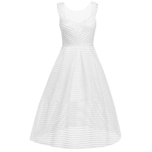 Fashion Women Stripes Hollow Out Dress Round Neck Sleeveless Backless Zipper Draped Swing Dress White/Red/Black