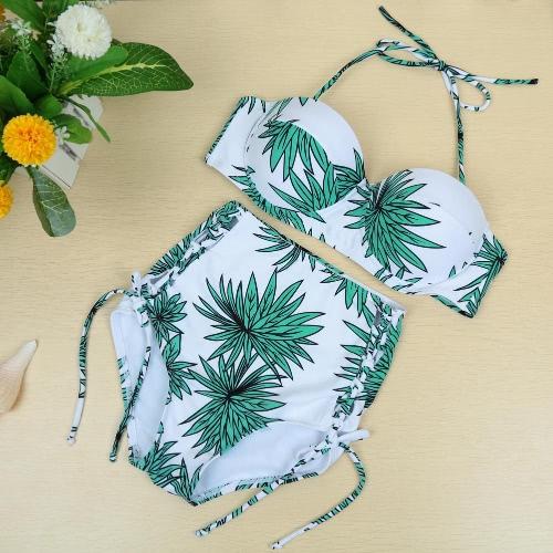 Sexy Leaves Print Halter High Waist Bathing Bikini Set Swimsuits GS050LGR-S
