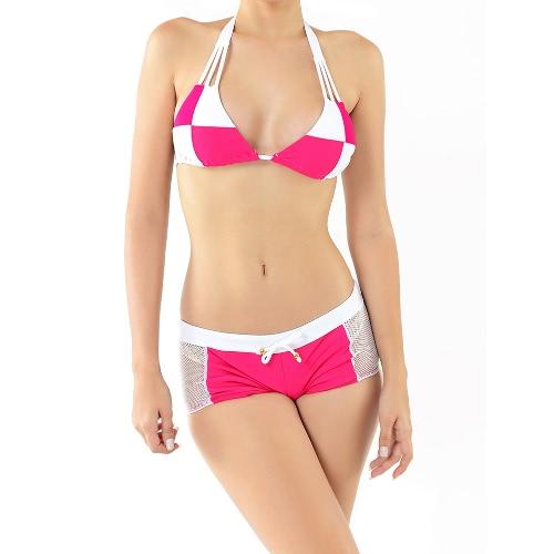 New Sexy Women Bikini Set Color Block Halter Wireless Padded Two Piece Bathing Suit Swimwear Swimsuits Rose