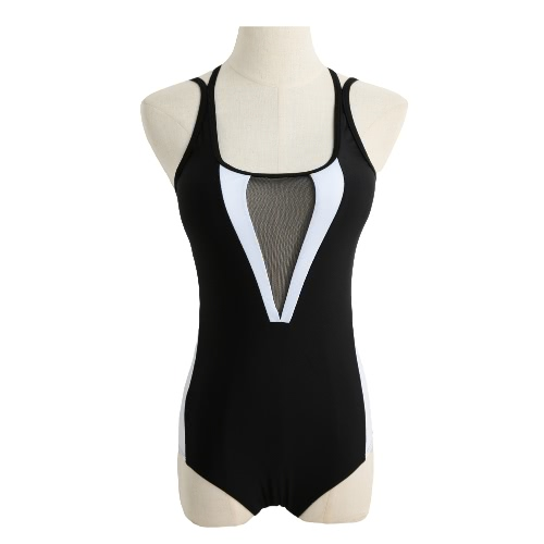 New Sexy Women One-piece Swimsuit Mesh Hollow Out Contrast Color Block Padded Beach Swimwear Bathing Suit Black
