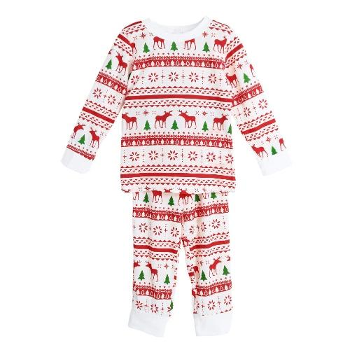 Buy Girls Boys Kids Two-Piece Set Pajama Christmas Sleepwear O-Neck Long Sleeves Casual House Coat Pants White