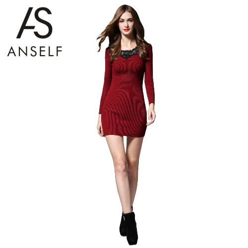 Anself Sexy Ribbed Long Sleeve Knit Lace Mini Dress for Women