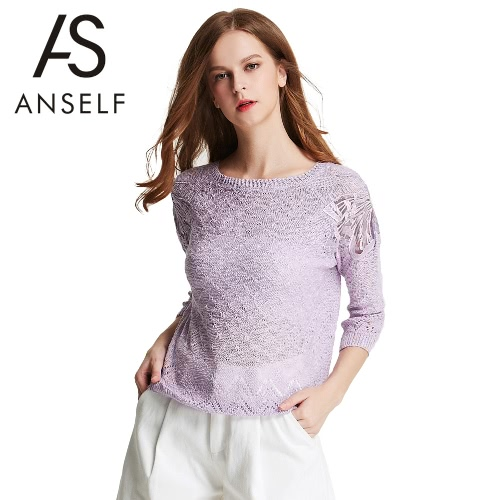 New Fashion Women Knitted Top Crochet Lace Mesh Patch Hollow Out 3/4 Sleeve Casual Loose Pullover Top G2608PU