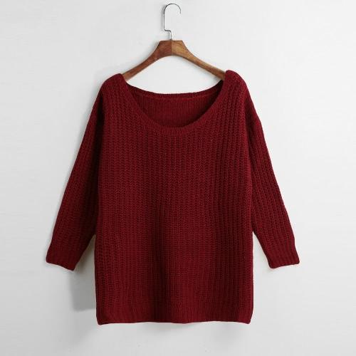 Casual Loose Autumn Long Sleeve Women's Knitwear Sweater G3081BU