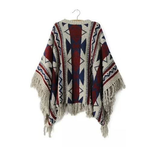 New Women Knitted Sweater Vintage Geometry Print Tassel O-Neck Warm Poncho Pullover Tops Burgundy