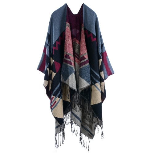 Women Knitted Shawl Poncho Faux Cashmere Geometric Pattern Tassel Oversized Long Bohemia CapeScarves &amp; Shawls<br>Women Knitted Shawl Poncho Faux Cashmere Geometric Pattern Tassel Oversized Long Bohemia Cape<br><br>Blade Length: 27.0cm
