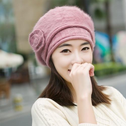 New Fashion Women Beanie Faux Rabbit Fur Crochet Slouch Baggy Knitted Beret Winter Warm Hat Cap Headwear