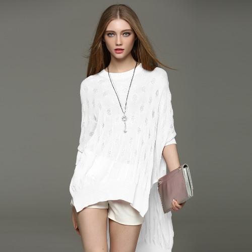 New Fashion Women Blouse O-Neck Batwing Sleeve Side Split Asymmetrical Hem Loose Knitwear Pullover