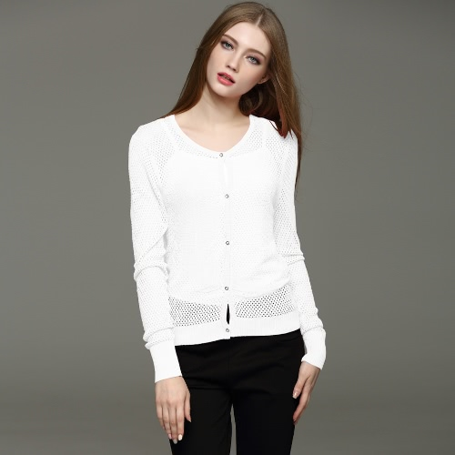 New Fashion Women Knitted Cardigan Mesh Hollow Out Button Front Long Sleeve Solid Slim Outerwear Knitwear Blouse Tops G2540W
