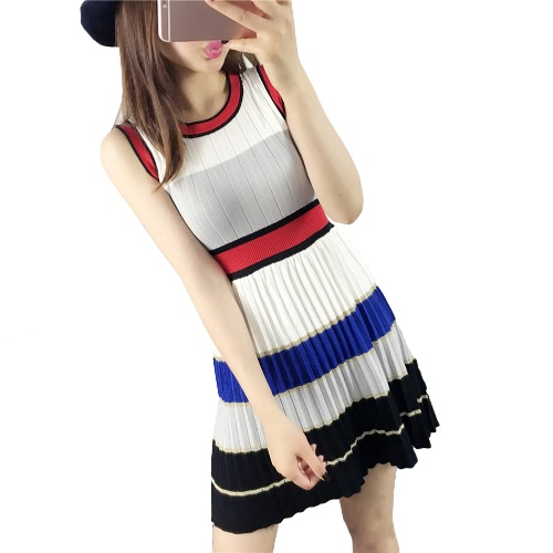 New Fashion Women Knit Dress Contrast Color Splicing High Waist O-Neck Sleeveless Stripe Knitting Mini Pleated Dress White