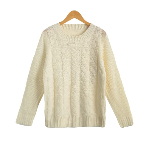 New Women Twist Knitted Sweater Solid Color O-Neck Long Sleeve Loose Casual Pullover Tops Jumper Knitwear