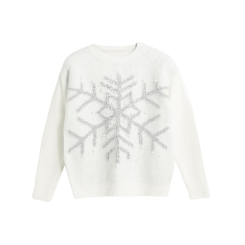 New Autumn Winter Women Knit Sweater Shiny Snowflake Jacquard Bead Jumper Long Sleeve Casual Knitwear Tops White/Pink G3196W