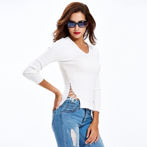 New Fashion Women Knitted Sweater Lace Up Sides Long Sleeve V Neck Solid Slim Top Knitwear Black/White/Grey G3291W