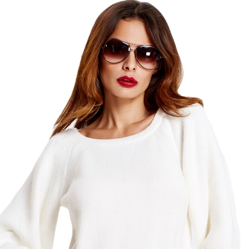 New Fashion Women Knitted Sweater Round Neck Three Quarter Sleeves Elegant Pullover Top Knitwear White