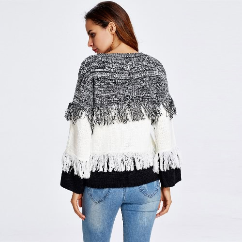 New Fashion Women Long Sleeve Knitted Sweater Tiered Tassel Fringe O Neck Casual Loose Jumper Pullover Knitwear