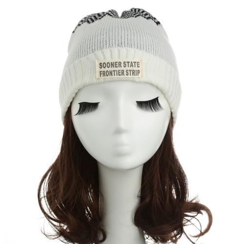 New Women Men Knitted Beanie Hat Letter Wave Stripe Round Top Turn-up Warm Dance Cap Headwear