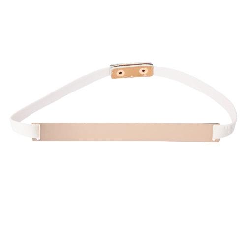 New Fashion Women Belt Snap Buckle Stretch Elastic Strap Simple Elegant Waistband Black/White/Beige