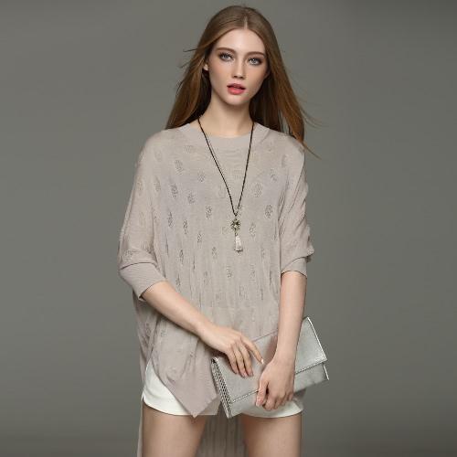 New Fashion Women Blouse O-Neck Batwing Sleeve Side Split Asymmetrical Hem Loose Knitwear Pullover G2536GY