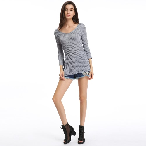 New Fashion Women Knitted Top Scoop O Neck Side Slit 3/4 Sleeve Casual Long Knitwear Pullover