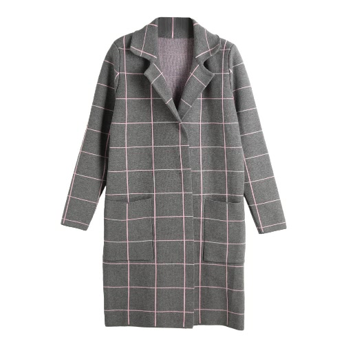 New Fashion Women Cardigan Plaid Pattern Long Sleeve Notched Press Stud Pocket Knitted Coat Causal Knitwear