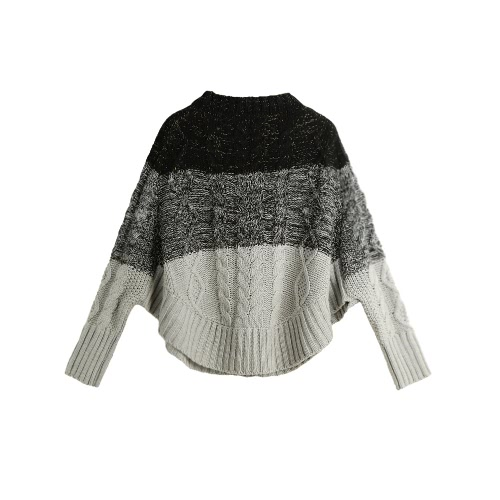 New Fashion Women Knitted Sweater Contrast Color Bat Sleeve Irregular Hem Loose Warm Pullover Jumper Tops Beige/Black G2997GY