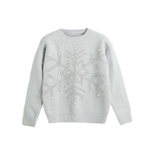 New Autumn Winter Women Knit Sweater Shiny Snowflake Jacquard Bead Jumper Long Sleeve Casual Knitwear Tops White/Pink