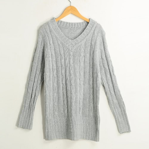 New Fashion Women Cable Knitted Sweater Solid Ribbed V Neck Long Sleeve Casual Longline Jumper Beige/Dark Green/Grey G3267GY