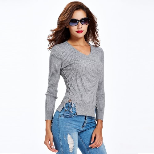 New Fashion Women Knitted Sweater Lace Up Sides Long Sleeve V Neck Solid Slim Top Knitwear Black/White/Grey G3291GY