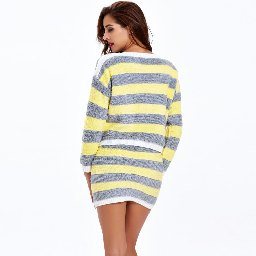 New Fashion Women Two Pieces Set Contrast Color Stripe Elastic Waist O-Neck Long Sleeve Slim Casual Suits White/Yellow